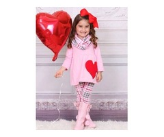 Girls Pink Valentines Day Themed Tunic, Plaid Leggings & Scarf Set