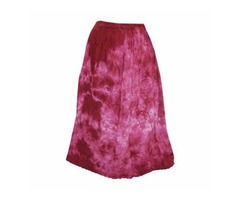 Mogulinterior Women's Summer Skirt Pink Tie-Dye Boho Chic Long Rayon Skirts