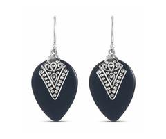 Bali Inspired Tear Drop 13.6 Carat Black Onyx Earrings