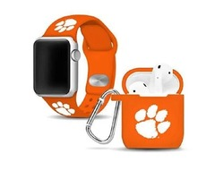 Affinity Bands Clemson Tigers Silicone Watch Band And Case Cover Combo Compatible With Apple Watch A