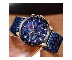 Fashion Men's Watches Top Brand Luxury WristWatch Quartz Clock Blue Smart Watches for Men Waterproof