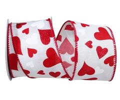 Attractive Heart Glitter Tales Linen Valentine's Day Ribbon