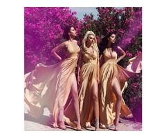 Sexy Slit Champagne Gold Bridesmaid Dresses | free-classifieds-usa.com
