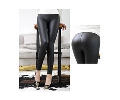 Everbellus High Waist Leather Leggings for Women Black pants