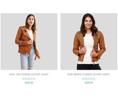 Buy Exclusive Women Studded Leather Jackets at Best Price | NYC Leather Jackets