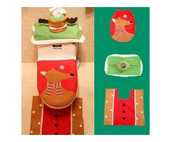 3PCS Christmas Santa Toilet Seat Covers Wtih Tissue Box and Rug Bathroom Set Christmas Decor