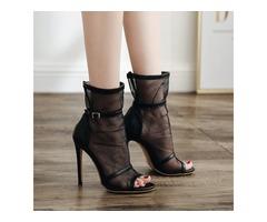 Mesh Peep Toe High-Cut Upper Womens Sandals