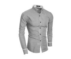 Plain Stand Collar Casual Slim Mens Shirt