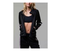 Onzie Hot Yoga Tract Jacket 629 Black/Aubergine