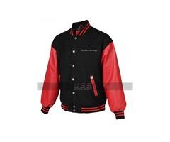 Mens Varsity Corvette Bomber Black and Red Letterman Jacket