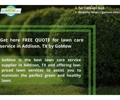 Get here FREE QUOTE for lawn care service in Addison, TX by GoMow
