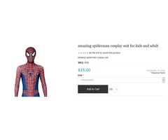 Affordable & Amazing spiderman cosplay suit for kids and adult Online