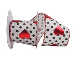 Heart Metallic Wired Edge Polka Dotted Ribbon for Valentine's Day
