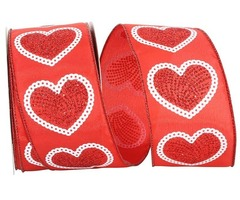 Valentine's Day Special Hearty Dainty Glitter Wired Edge Ribbon