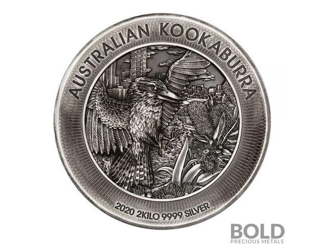 2020 Perth Kookaburra 2 Kilo Silver Antiqued High Relief Coin   free-classifieds-usa.com