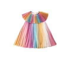 Buy Girls Rainbow Pleaded Collar Dress Online at Mia Belle Girls