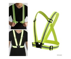 BIKIGHT Cycling High Visibility Adjustable Reflective Vest Running 360 Degrees Neon Reflective Belt