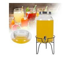 5.5L Drink Beverage Dispenser and Stand Beverage Water Juice Detox Glass Jar