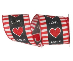 Love Between the Lines Wired Edge Ribbon for Valentine's Day
