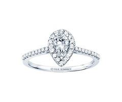 14k White Gold Halo Engagement Ring - Rm1301ps