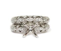 18K White Gold Vintage Style Openwork Semi -Mount Engagement Ring and Wedding Band Set
