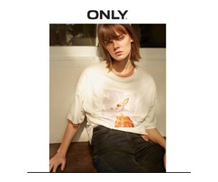 ONLY SPRING AND SUMMER WOMEN'S LOOSE FIT ROUND NECKLINE ELBOW SLEEVES T-SHIRT