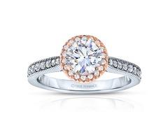 14k White Gold Round Cut Halo Diamond Engagement Ring - Rm1286rtt