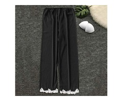 Ankola Womens Lace Satin Silk Sleepwear Pyjamas Long Pants Nightwear Loungewear Pajamas Bottom Trous