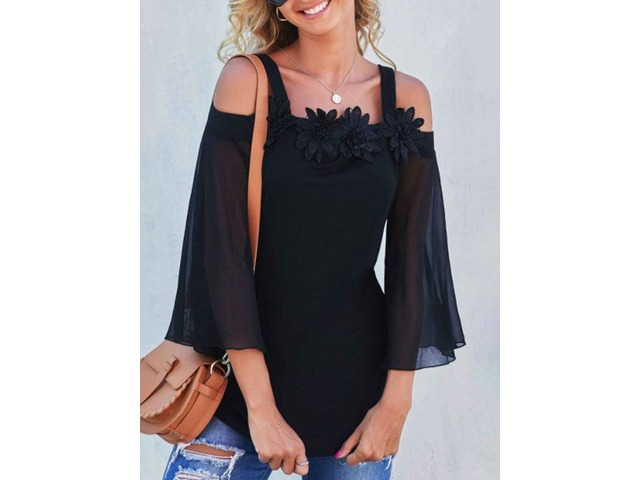 Women Solid Color Flared Sleeves Sling Cold Shoulder Blouse Tops | free-classifieds-usa.com