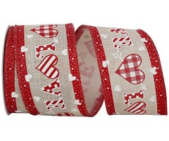 Send Some Love With Gingham Heart Love Linen Wired Edge Ribbon