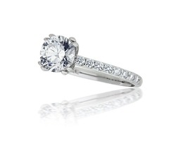 Double Prong Diamond Engagement Ring Setting in 14k White Gold (0.38ct. tw.)