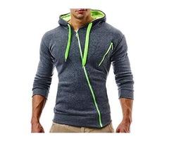 Men's Fit Diagonal Zipper Design Hooded Sweatshirt