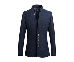 Mens Stand Collar Casual Slim Gentleman British Style Jacket