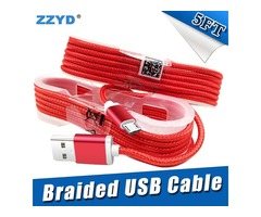 ZZYD 1.5M 5FT Braided USB Micro Charger durable type C Cable For Samsung HTC Sony LG Phones With Met