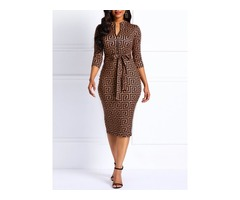 Knee-Length V-Neck Geometric Womens Bodycon Dress