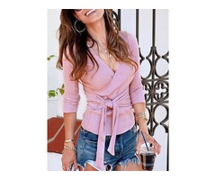 Lace-Up V-Neck Slim Thin Womens Sweater