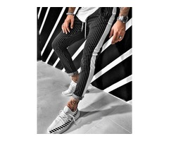 Lace-Up Zipper Pocket Color Block Stripe Mens Casual Pants
