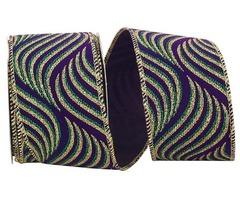 Beautiful Mardi Gras Swirl Steve Wired Edge Ribbon