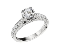 Engagement Ring featuring 14 Round Brilliant Diamonds with 0.26ctw in White Gold