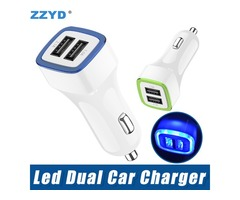 ZZYD LED Dual Usb Car Charger Vehicle Portable Power Adapter 5V 1A For Samsung S8 Note 8 iPX