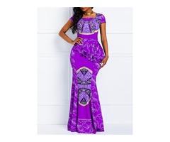 Floor-Length Square Neck High Waist Womens Maxi Dress
