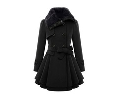 Belt A Line Peplum Double-Breasted Womens Overcoat
