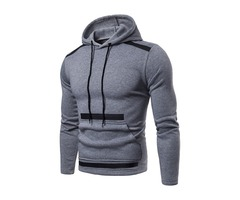 Men's Fashion Color Block Overhead Hooded Casual Sweatshirt