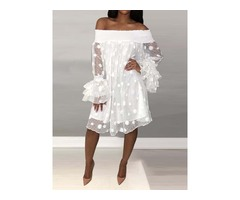 See-Through Off Shoulder Knee-Length Straight Polka Dots Womens Dress