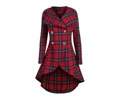 Plaid Mid-Length England Womens Trench Coat