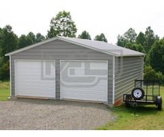 Buy Vertical Roof 2-Bay Metal Garage Kits