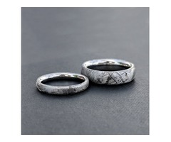 Meteorite Ring Set with Gibeon Meteorite and Cobalt & Aerospace Grade - USA Made