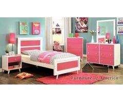 Get Alivia Contemporary 4 Pieces Bedroom Set - Pink
