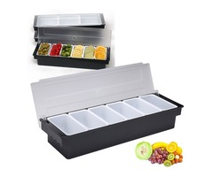 6 Compartment Divided Fruit Food Storage Case Box Kitchen Storage Container Garnish Crisper