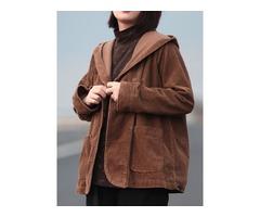 Women Retro Pure Color Hooded Long Sleeve Corduroy Coats